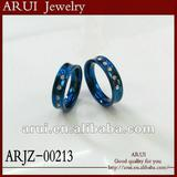 2012 fashion ring blue diamond stainless steel rings jewelry