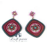 Fashion jewlery red square jhumka earrings with beads decoration