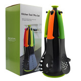 5pcs Nylon kitchen set with stand  ( Solid Spoon/Spaghetti/spoon/Slotted turner/Slotted spoon)