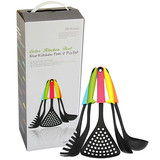 5pcs NEW Nylon kitchen set with stand  ( Ladle/Solid spoon/Spaghetti//Slotted turner/Slotted spoon)