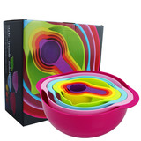 Rainbow 8-Piece Compact Food Preparation Set Nested Mixing Bowls