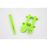 3-in-1 Portable Chopsticks, Fork & Spoon Travel Cutlery Set (Green)