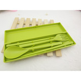 Promotion 3-in-1 Portable Chopsticks, Fork & Spoon Travel Cutlery Set (Green)