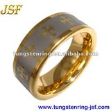 gold cross tungsten ring men tungsten wedding bands