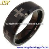 black tungsten ring with laser cross tungsten wedding ring
