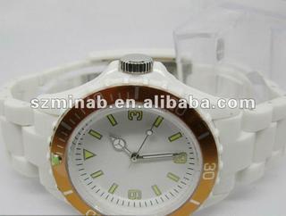 2012 popular design white silicone quartz watch