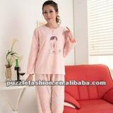 lady long sleeves o-neck simple pajama sets