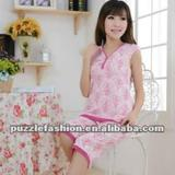 comfortable girls sleeveless sexy short pajama sets