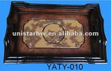 home furniture wooden storage tray with flower motif