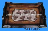 antique wooden storage tray with leaf motif