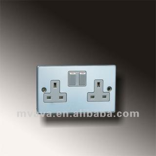 British Pressing Rang 13A Socket Outlets Double Pole 2G with Neon