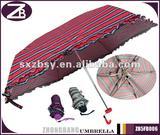 5-fold Manual Open Compact Pocket Stripes Umbrella