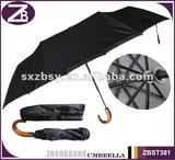Auto Open & Close folding Umbrella with Curved wooden Handle
