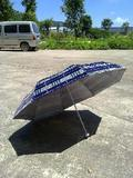 Aluminium Umbrella with Check Polyester with Silver Coating/3 Fold Umbrella/Market Umbrella