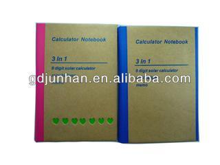 Kraft paper cover memo pad with calculator