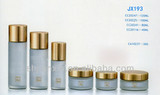 Frosted glass cosmetic bottles and jars set with pump&cap in shanghai factory