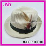 wholesale fashion paper Straw Fedora Gangster Hats with Black band W/feather