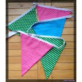 Christmas banner cotton fabric bunting flags in green ,red and blue