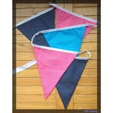 cotton bunting flags of polka dots style in pink, navy blue and lake blue