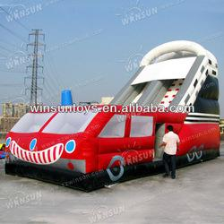 Cute Popular Children Playing HOT Car Inflatable Slide