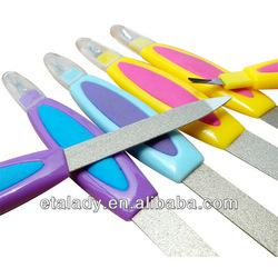 soft plastic handle metal nail files with cuticle trimmer
