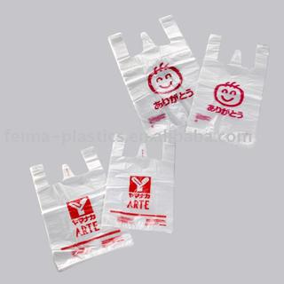vest carrier shopping polybag, transparent color with logo print