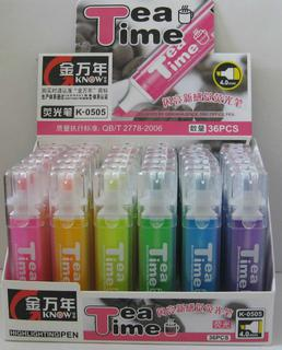 Highlighter square shape 6 colors chisel tip K-0505