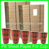 pe coated paper cup sheets/paper fan/cup paper