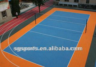 hot sale 12 years long lifetime PP interlocking volleyball flooring/volleyball court surfaces durable