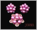 Plum bead flower pattern earring&necklace jewelry set