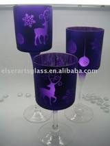 silver glass tealight holder set with mi-lu deer design for christmas decoration