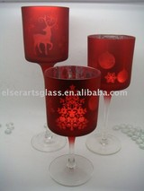 silver glass tealight holder set with xmas tree design for christmas decoration