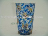 decorative glass candler with water transfer printing tech for holiday gifting