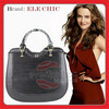 New fashion design ladies big handbags black leather tote bag