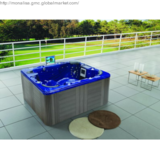 square outdoor spa for four people