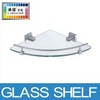 aluminum & tempered glass bathroom corner glass shelf
