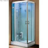 Simple and Elegant Blue Tempered Glass Steam Shower Cubicle