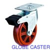 Industrial Plastic Caster Wheel With Brake, Double Ball Bearing