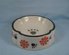 6-1/2-inch Pet bowl with white Glaze and flower by hand panited, Made