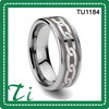 Polished Comfort Fit Tungsten Ring With Celtic And Stepped-Down Edges