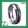 Comfort fit tungsten carbide rings with inlay and faceted