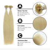 20 inch Nail U Tip Pre-bonded Keratin Rebonds Hair Nano glue Nail Human Hair Extensions 50 strands 50g Light Blond #60 Color