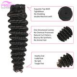 20 inch Deep Wave Unprocessed Virgin Human Hair Bundles 10A Brazilian Hair Extension Natural Black Weave For Black Women