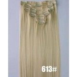 Blonde color clip in hair extension