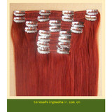 Red color hair, clip on hair extension