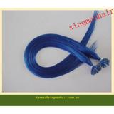 Blue color,Pre bonded human hair extension