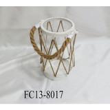 Cylindrical metal frame glass tube flax rope lantern/hurricane lantern/storm lantern/candle holder/gifts/home decor