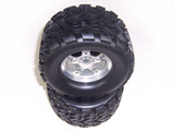 Silver Aluminum 5-spoke Wheels + Tires 1 Pair(1/8 Truck)