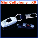 GSM X6 car keychain Phone mini size key chart car key cell phone very small phone