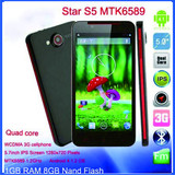 Star S5 X920(butterfly)smartphone mtk6589 1.2GHz8GROM 1GRAM android 4.2 GPS WIFI 5'' 1280X720 Screen android phone made on china